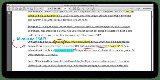 Acrobat Reader: exemplo de texto marcado