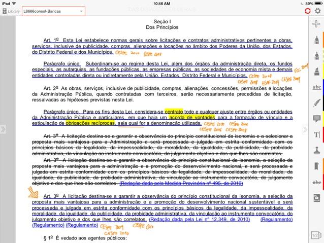 Exemplo da técnica dos feras com a Lei 8.666/1993