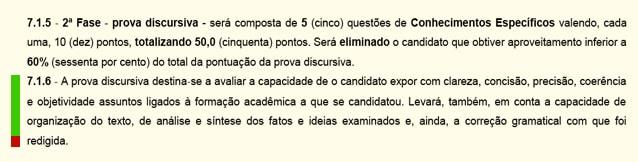 Critérios para a discursiva do BNDES (Cesgranrio).