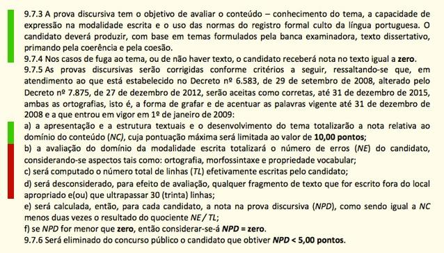 Critérios de correção de redação do Cespe.