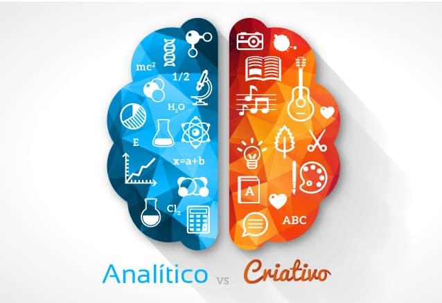Os dois lados do cérebro: esquerdo: analítico; direito: criativo.
