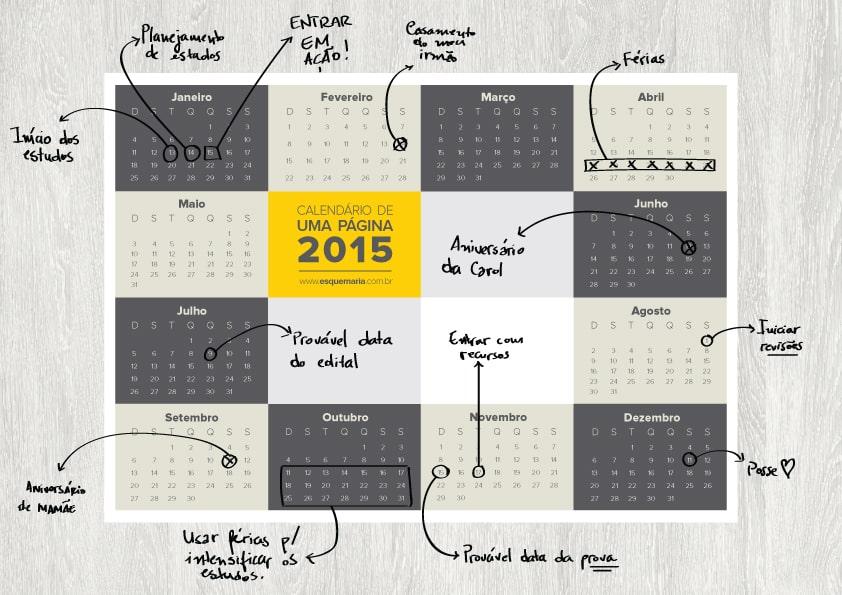 Organização de calendário Até a Prova